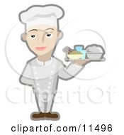 Male Chef Serving A Platter Of Food Clipart Illustration