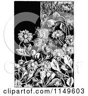 Clipart Of A Retro Vintage Black And White Daisy Flower Background Royalty Free Vector Illustration by Prawny Vintage