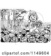 Clipart Of A Retro Vintage Black And White Boy Running In A Cabbage Patch Royalty Free Vector Illustration by Prawny Vintage