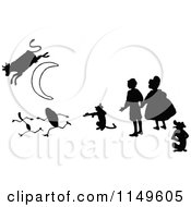 Clipart Of Retro Vintage Black And White Kids With A Cat Fiddle Silver Spoon And Cow Jumping Over The Moon Royalty Free Vector Illustration by Prawny Vintage