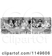 Clipart Of Retro Vintage Black And White Spectators On A Balcony Royalty Free Vector Illustration