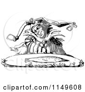 Clipart Of A Retro Vintage Black And White Jester Carrying A Fish On A Tray Royalty Free Vector Illustration by Prawny Vintage