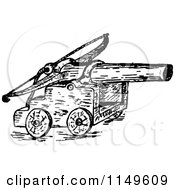 Clipart Of A Retro Vintage Black And White Catapult Royalty Free Vector Illustration