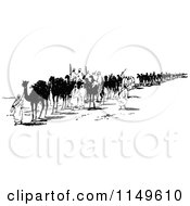 Clipart Of A Retro Vintage Black And White Bedoin Tribe With Camels Royalty Free Vector Illustration