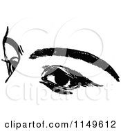Clipart Of A Retro Vintage Black And White Womans Eyes Royalty Free Vector Illustration