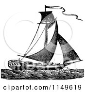 Clipart Of A Retro Vintage Black And White Sloop Sail Boat Royalty Free Vector Illustration