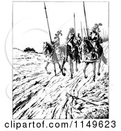 Clipart Of Retro Vintage Black And White Knights Riding On Horseback Royalty Free Vector Illustration by Prawny Vintage