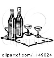 Clipart Of A Retro Vintage Black And White Cloth With Wine Bottles And Glasses Royalty Free Vector Illustration