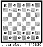 Clipart Of A Retro Vintage Black And White Checkers Game Board Royalty Free Vector Illustration