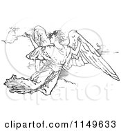 Clipart Of A Retro Vintage Black And White Flying Angel Royalty Free Vector Illustration by Prawny Vintage