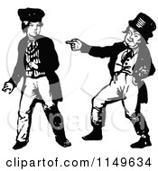 Clipart Of A Retro Vintage Black And White Boy Making Fun Of Another Boy Royalty Free Vector Illustration