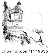 Clipart Of A Retro Vintage Black And White Man By A Castle On A Cliff Royalty Free Vector Illustration by Prawny Vintage