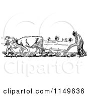 Clipart Of A Retro Vintage Black And White Farmer And Cow Ploughing Royalty Free Vector Illustration by Prawny Vintage