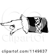 Clipart Of A Retro Vintage Black And White Hand Pointing Royalty Free Vector Illustration