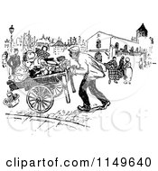 Clipart Of A Retro Vintage Black And White Busy Street Scene Royalty Free Vector Illustration
