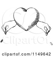 Retro Vintage Black And White Heart And Hands Dropping Coins