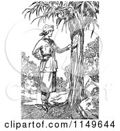 Clipart Of A Retro Vintage Black And White Explorer Woman Reading A Note On A Tree Royalty Free Vector Illustration