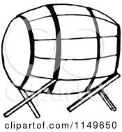Clipart Of A Retro Vintage Black And White Barrel On A Stand Royalty Free Vector Illustration by Prawny Vintage