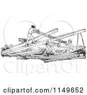 Clipart Of Retro Vintage Black And White Men Sawing Wood Royalty Free Vector Illustration