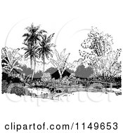 Clipart Of A Retro Vintage Black And White Bridge And Palm Trees Royalty Free Vector Illustration by Prawny Vintage