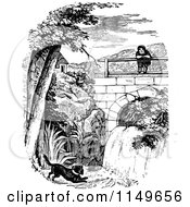 Clipart Of A Retro Vintage Black And White Person And Puppy By A Waterfall Royalty Free Vector Illustration