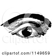 Clipart Of A Retro Vintage Black And White Eye And Brow Royalty Free Vector Illustration