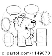 Cartoon Clipart Of A Black And White Doggy Character With Multiple Word Balloons Vector Outlined Coloring Page