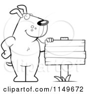 Cartoon Clipart Of A Black And White Dog Standing Beside A Blank Wood Sign Vector Outlined Coloring Page
