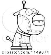 Cartoon Clipart Of A Black And White Metal Robotic Dog Vector Outlined Coloring Page