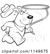 Cartoon Clipart Of A Black And White Rodeo Dog Running With A Lasso Vector Outlined Coloring Page