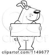 Cartoon Clipart Of A Black And White Friendly Dog Holding A Blank White Sign Vector Outlined Coloring Page