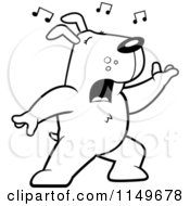 Cartoon Clipart Of A Black And White Singing Dog With Music Notes Vector Outlined Coloring Page