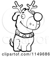 Cartoon Clipart Of A Black And White Reindeer Dog Sitting Vector Outlined Coloring Page by Cory Thoman