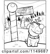Cartoon Clipart Of A Black And White Rudolph Dog By A North Pole Sign Vector Outlined Coloring Page by Cory Thoman