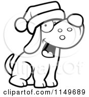 Cartoon Clipart Of A Black And White Dog Wearing A Santa Hat Vector Outlined Coloring Page by Cory Thoman