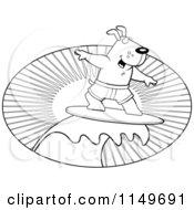 Cartoon Clipart Of A Black And White Surfer Dog Riding A Wave At Sunset Vector Outlined Coloring Page