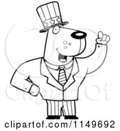 Cartoon Clipart Of A Black And White Uncle Sam Dog In A Suit Vector Outlined Coloring Page