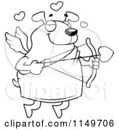 Cartoon Clipart Of A Black And White Chubby Dog Cupid Vector Outlined Coloring Page