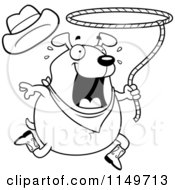 Cartoon Clipart Of A Black And White Chubby Rodeo Dog Vector Outlined Coloring Page