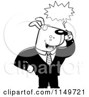 Cartoon Clipart Of A Black And White Business Dog Using A Cell Phone Vector Outlined Coloring Page