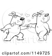 Cartoon Clipart Of A Black And White Amorous Doggy Character Biting A Rose And Dancing With A Female Vector Outlined Coloring Page
