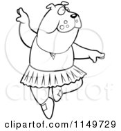 Cartoon Clipart Of A Black And White White Ballerina Bulldog In A Tutu Vector Outlined Coloring Page