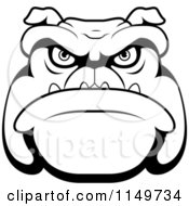 Cartoon Clipart Of A Black And White Mean Bulldog Face Vector Outlined Coloring Page