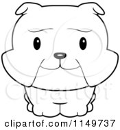 Cartoon Clipart Of A Black And White Baby Bulldog Smiling Upwards Vector Outlined Coloring Page