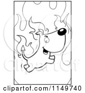 Cartoon Clipart Of A Black And White Flaming Devil Dog Vector Outlined Coloring Page