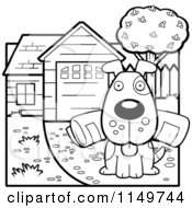 Cartoon Clipart Of A Black And White Dog Sitting In A Driveway With A Newspaper In His Mouth Vector Outlined Coloring Page