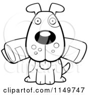 Cartoon Clipart Of A Black And White Dog Sitting With The Newspaper In His Mouth Vector Outlined Coloring Page