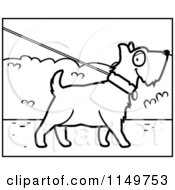 Cartoon Clipart Of A Black And White Dog On A Leash Vector Outlined Coloring Page