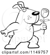 Cartoon Clipart Of A Black And White Romantic Dog Presenting A Rose Vector Outlined Coloring Page