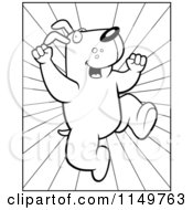 Cartoon Clipart Of A Black And White Joyous Dog Leaping Over Rays Vector Outlined Coloring Page